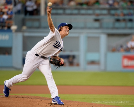 Zack Greinke---Los Angeles Dodgers vs San Diego Padres Saturday, October 3, 2015 at Dodger Stadium in Los Angeles, California.  Photo by Jon SooHoo /©Los Angeles Dodgers,LLC 2015