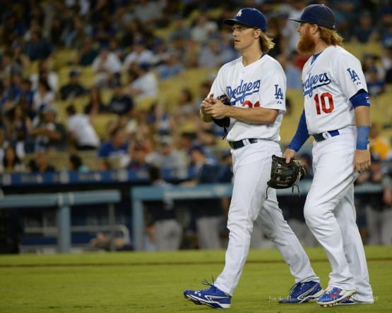 Zack Greinke and Justin Turner--Los Angeles Dodgers vs San Diego Padres Saturday, October 3, 2015 at Dodger Stadium in Los Angeles, California.  Photo by Jon SooHoo /©Los Angeles Dodgers,LLC 2015