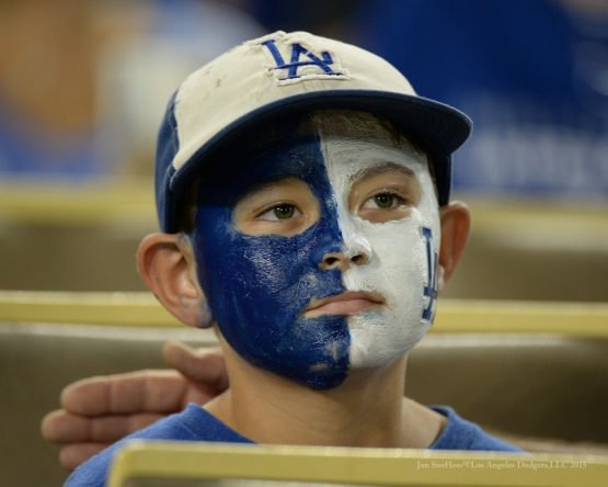 Great Dodger fan--Los Angeles Dodgers vs San Diego Padres Saturday, October 3, 2015 at Dodger Stadium in Los Angeles, California.  Photo by Jon SooHoo /©Los Angeles Dodgers,LLC 2015