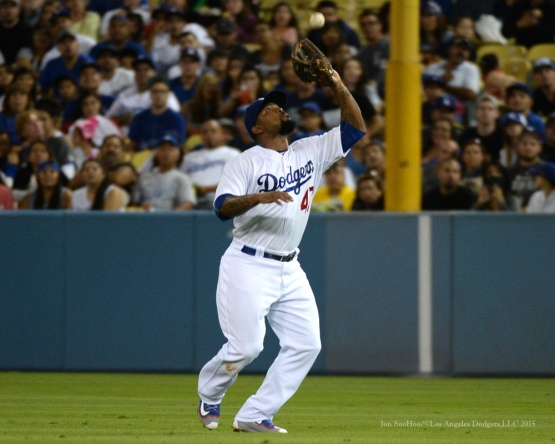 Howie Kendrick--Los Angeles Dodgers vs San Diego Padres Saturday, October 3, 2015 at Dodger Stadium in Los Angeles, California.  Photo by Jon SooHoo /©Los Angeles Dodgers,LLC 2015