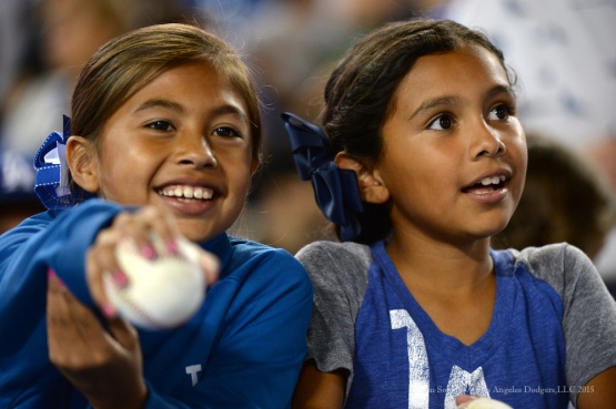 Great Dodger fans--Los Angeles Dodgers vs San Diego Padres Saturday, October 3, 2015 at Dodger Stadium in Los Angeles, California.  Photo by Jon SooHoo /©Los Angeles Dodgers,LLC 2015