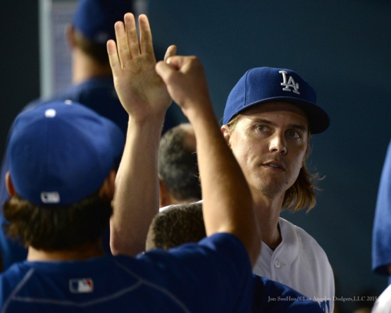 Zack Greinke--Los Angeles Dodgers vs San Diego Padres Saturday, October 3, 2015 at Dodger Stadium in Los Angeles, California.  Photo by Jon SooHoo /©Los Angeles Dodgers,LLC 2015