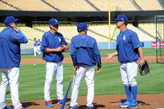 Tim Wallach, Ron Roenicke, Davey Lopes and Don Mattingly--Los Angeles Dodgers work out Tuesday, October 6, 2015 at Dodger Stadium in Los Angeles, California. Photo by Jon SooHoo /©Los Angeles Dodgers,LLC 2015