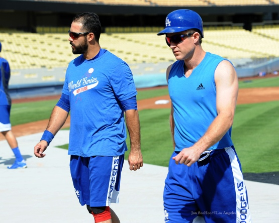 Andre Ethier and Chase Utley--Los Angeles Dodgers work out Tuesday, October 6, 2015 at Dodger Stadium in Los Angeles, California. Photo by Jon SooHoo /©Los Angeles Dodgers,LLC 2015