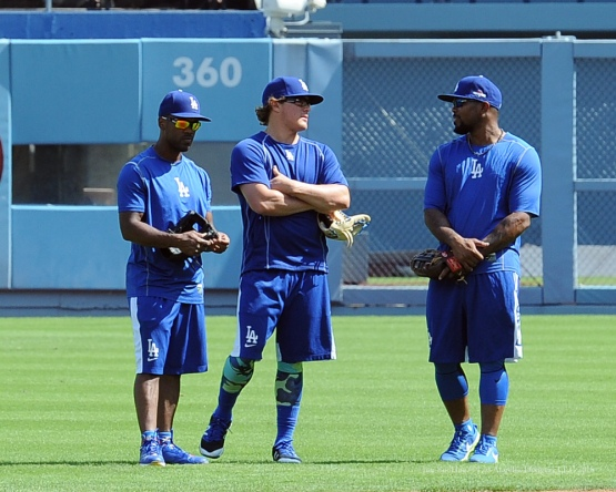 Jimmy Rollins, Kike Hernandez and Howie Kendrick--Los Angeles Dodgers work out Tuesday, October 6, 2015 at Dodger Stadium in Los Angeles, California. Photo by Jon SooHoo /©Los Angeles Dodgers,LLC 2015