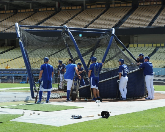 Los Angeles Dodgers work out Tuesday, October 6, 2015 at Dodger Stadium in Los Angeles, California. Photo by Jon SooHoo /©Los Angeles Dodgers,LLC 2015