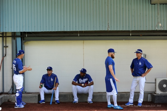 Rob Flippo, Steve Yeager, Juan Nicasio, JP Howell and Chuck Crim--Los Angeles Dodgers work out Tuesday, October 6, 2015 at Dodger Stadium in Los Angeles, California. Photo by Jon SooHoo /©Los Angeles Dodgers,LLC 2015