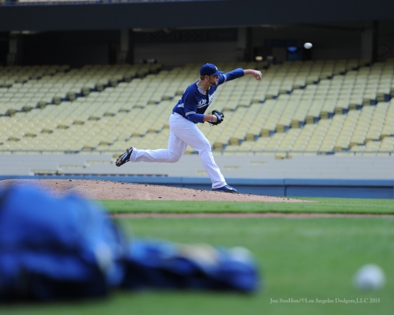 Brett Anderson--Los Angeles Dodgers work out Tuesday, October 6, 2015 at Dodger Stadium in Los Angeles, California. Photo by Jon SooHoo /©Los Angeles Dodgers,LLC 2015