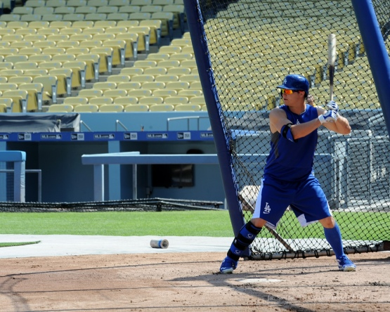 Joc Pederson--Los Angeles Dodgers work out Tuesday, October 6, 2015 at Dodger Stadium in Los Angeles, California. Photo by Jon SooHoo /©Los Angeles Dodgers,LLC 2015