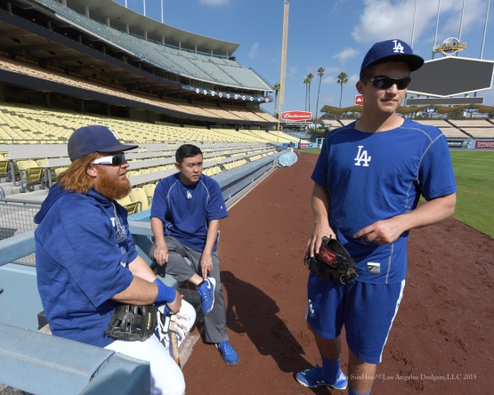 Justin Turner, Possum and Corey Seager--Los Angeles Dodgers work out Tuesday, October 6, 2015 at Dodger Stadium in Los Angeles, California. Photo by Jon SooHoo /©Los Angeles Dodgers,LLC 2015