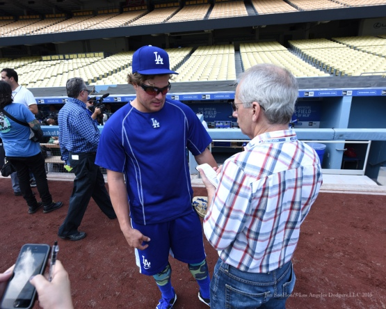 Kike Hernandez and Ken Gurnick--Los Angeles Dodgers work out Tuesday, October 6, 2015 at Dodger Stadium in Los Angeles, California. Photo by Jon SooHoo /©Los Angeles Dodgers,LLC 2015