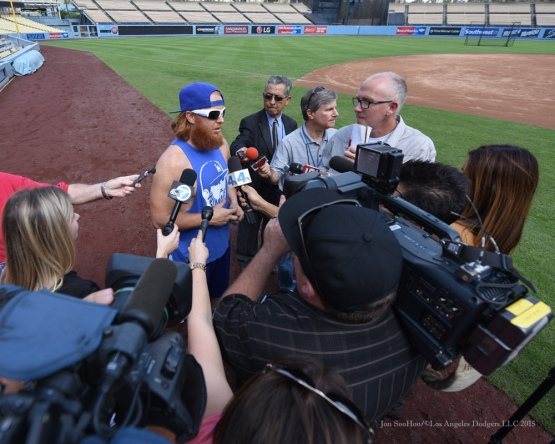 Justin Turner--Los Angeles Dodgers work out Tuesday, October 6, 2015 at Dodger Stadium in Los Angeles, California. Photo by Jon SooHoo /©Los Angeles Dodgers,LLC 2015
