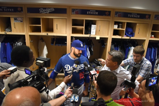 Andre Ethier--Los Angeles Dodgers workout Wednesday, October 7, 2015 at Dodger Stadium in Los Angeles, California.  Photo by Jon SooHoo /©Los Angeles Dodgers,LLC 2015