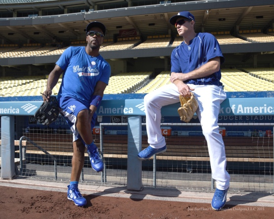 Jimmy Rollins and Chase Utley--Los Angeles Dodgers workout Wednesday, October 7, 2015 at Dodger Stadium in Los Angeles, California.  Photo by Jon SooHoo /©Los Angeles Dodgers,LLC 2015