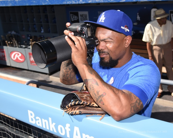 Howie Kendrick using Nikon D3 and Nikon 500/5--Los Angeles Dodgers workout Wednesday, October 7, 2015 at Dodger Stadium in Los Angeles, California.  Photo by Jon SooHoo /©Los Angeles Dodgers,LLC 2015
