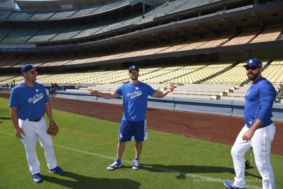 Chris Heisey, Justin Ruggiano and Andre Ethier--Los Angeles Dodgers workout Wednesday, October 7, 2015 at Dodger Stadium in Los Angeles, California.  Photo by Jon SooHoo /©Los Angeles Dodgers,LLC 2015