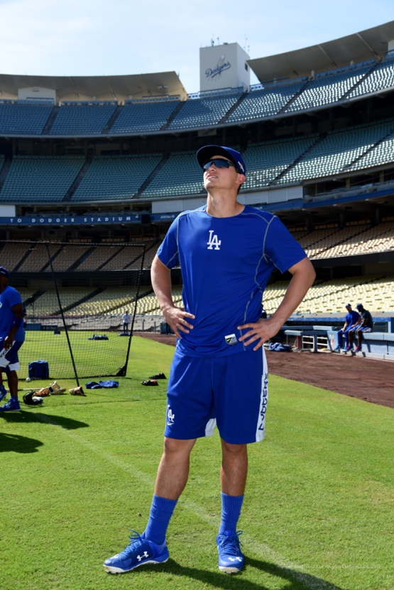 Corey Seager--Los Angeles Dodgers workout Wednesday, October 7, 2015 at Dodger Stadium in Los Angeles, California.  Photo by Jon SooHoo /©Los Angeles Dodgers,LLC 2015
