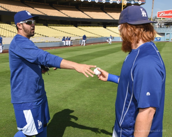 Adrian Gonzalez and Justin Turner--Los Angeles Dodgers workout Wednesday, October 7, 2015 at Dodger Stadium in Los Angeles, California.  Photo by Jon SooHoo /©Los Angeles Dodgers,LLC 2015