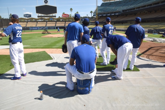 Los Angeles Dodgers workout Wednesday, October 7, 2015 at Dodger Stadium in Los Angeles, California.  Photo by Jon SooHoo /©Los Angeles Dodgers,LLC 2015