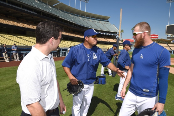 Andrew Friedman, Joel Peralta and JP Howell--Los Angeles Dodgers workout Wednesday, October 7, 2015 at Dodger Stadium in Los Angeles, California.  Photo by Jon SooHoo /©Los Angeles Dodgers,LLC 2015