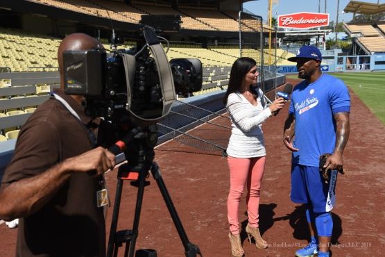 Alanna Rizzo and Howie Kendrick--Los Angeles Dodgers workout Wednesday, October 7, 2015 at Dodger Stadium in Los Angeles, California.  Photo by Jon SooHoo /©Los Angeles Dodgers,LLC 2015