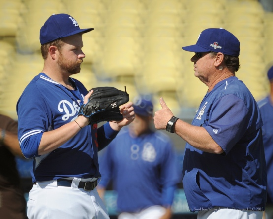 Brett Anderson and Rick Honeycutt--Los Angeles Dodgers workout Wednesday, October 7, 2015 at Dodger Stadium in Los Angeles, California.  Photo by Jon SooHoo /©Los Angeles Dodgers,LLC 2015