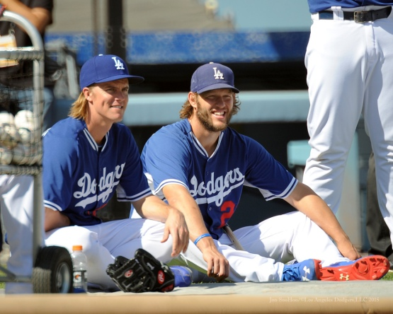 Zack Greinke and Clayton Kershaw--Los Angeles Dodgers workout Wednesday, October 7, 2015 at Dodger Stadium in Los Angeles, California.  Photo by Jon SooHoo /©Los Angeles Dodgers,LLC 2015