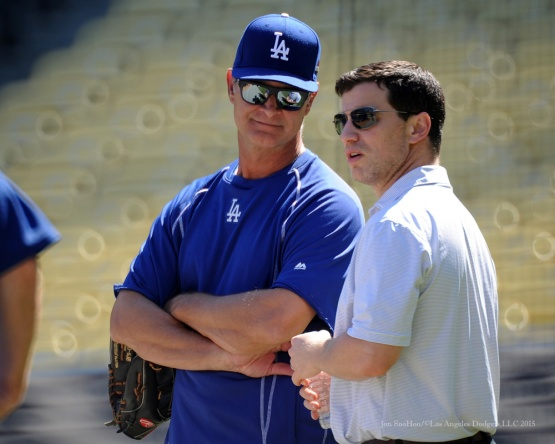 Don Mattingly and Andrew Friedman--Los Angeles Dodgers workout Wednesday, October 7, 2015 at Dodger Stadium in Los Angeles, California.  Photo by Jon SooHoo /©Los Angeles Dodgers,LLC 2015