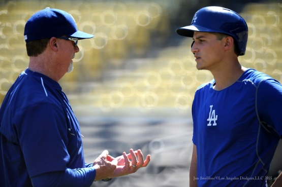 Mark McGwire and Corey Seager--Los Angeles Dodgers workout Wednesday, October 7, 2015 at Dodger Stadium in Los Angeles, California.  Photo by Jon SooHoo /©Los Angeles Dodgers,LLC 2015