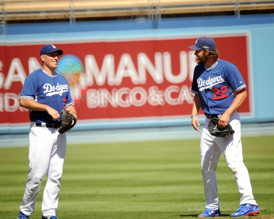 A.J. Ellis and Clayton Kershaw--Los Angeles Dodgers workout Wednesday, October 7, 2015 at Dodger Stadium in Los Angeles, California.  Photo by Jon SooHoo /©Los Angeles Dodgers,LLC 2015