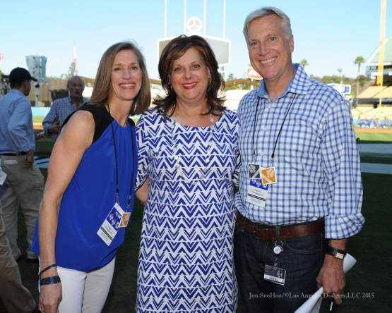 Kim Walter, Shari Patton and Mark Walter--NLDS-Game Two-Los Angeles Dodgers vs New York Mets Saturday, October 10, 2015 at Dodger Stadium in Los Angeles, California.  Photo by Jon SooHoo /©Los Angeles Dodgers,LLC 2015