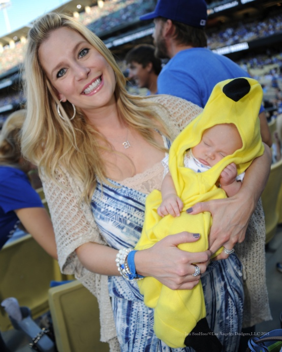 Emily Greinke with son Bode---NLDS-Game Two-Los Angeles Dodgers vs New York Mets Saturday, October 10, 2015 at Dodger Stadium in Los Angeles, California.  Photo by Jon SooHoo /©Los Angeles Dodgers,LLC 2015