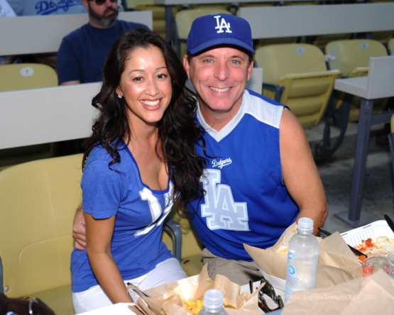 Great Dodger fans--NLDS-Game Two-Los Angeles Dodgers vs New York Mets Saturday, October 10, 2015 at Dodger Stadium in Los Angeles, California.  Photo by Jon SooHoo /©Los Angeles Dodgers,LLC 2015