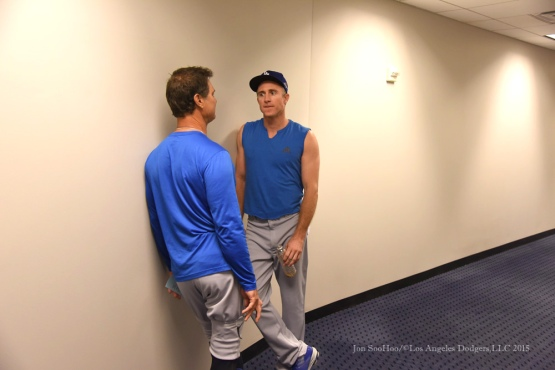 Don Mattingly and Chase Utley--2015 NLDS-Game Three-Los Angeles Dodgers vs New York Mets Monday, October 12, 2015 at Citi Field in Flushing, New York.  Photo by Jon SooHoo /©Los Angeles Dodgers,LLC 2015