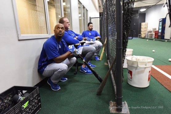Jimmy Rollins, Mark McGwire and Adrian Gonzalez--2015 NLDS-Game Three-Los Angeles Dodgers vs New York Mets Monday, October 12, 2015 at Citi Field in Flushing, New York.  Photo by Jon SooHoo /©Los Angeles Dodgers,LLC 2015