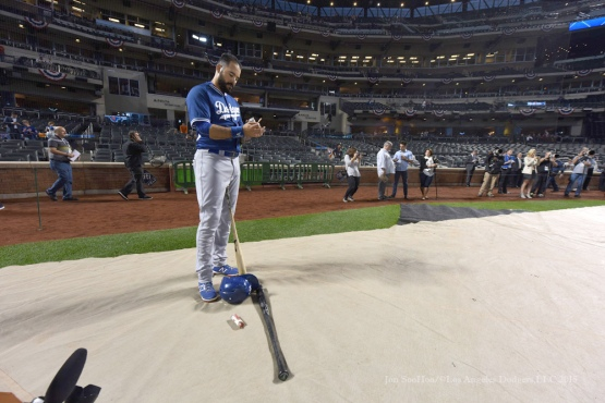 Andre Ethier--2015 NLDS-Game Three-Los Angeles Dodgers vs New York Mets Monday, October 12, 2015 at Citi Field in Flushing, New York.  Photo by Jon SooHoo /©Los Angeles Dodgers,LLC 2015