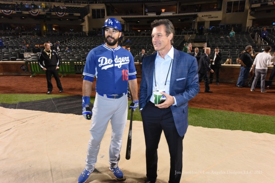 Andre Ethier, Dr. Neal El Attrache--2015 NLDS-Game Three-Los Angeles Dodgers vs New York Mets Monday, October 12, 2015 at Citi Field in Flushing, New York.  Photo by Jon SooHoo /©Los Angeles Dodgers,LLC 2015