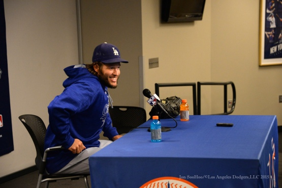 Clayton Kershaw--2015 NLDS-Game Three-Los Angeles Dodgers vs New York Mets Monday, October 12, 2015 at Citi Field in Flushing, New York.  Photo by Jon SooHoo /©Los Angeles Dodgers,LLC 2015