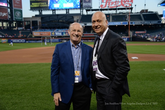 Stan Kasten, Cal Ripken Jr--2015 NLDS-Game Three-Los Angeles Dodgers vs New York Mets Monday, October 12, 2015 at Citi Field in Flushing, New York.  Photo by Jon SooHoo /©Los Angeles Dodgers,LLC 2015
