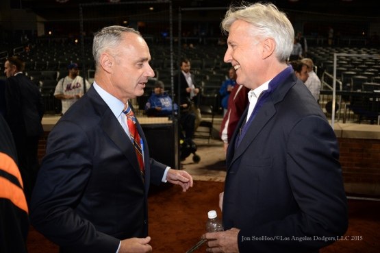 Commissioner Rob Manfred and Mark Walter--2015 NLDS-Game Three-Los Angeles Dodgers vs New York Mets Monday, October 12, 2015 at Citi Field in Flushing, New York.  Photo by Jon SooHoo /©Los Angeles Dodgers,LLC 2015