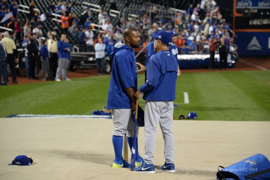 Howie Kendrick and Davey Lopes--2015 NLDS-Game Three-Los Angeles Dodgers vs New York Mets Monday, October 12, 2015 at Citi Field in Flushing, New York.  Photo by Jon SooHoo /©Los Angeles Dodgers,LLC 2015