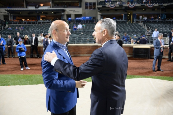 Stan Kasten and Rob Manfred--2015 NLDS-Game Three-Los Angeles Dodgers vs New York Mets Monday, October 12, 2015 at Citi Field in Flushing, New York.  Photo by Jon SooHoo /©Los Angeles Dodgers,LLC 2015
