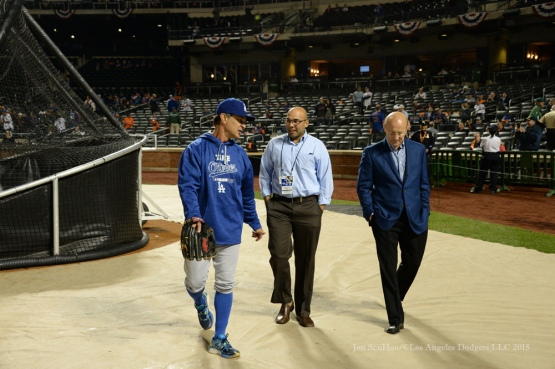 Don Mattingly, Farhan Zaidi and Stan Kasten--2015 NLDS-Game Three-Los Angeles Dodgers vs New York Mets Monday, October 12, 2015 at Citi Field in Flushing, New York.  Photo by Jon SooHoo /©Los Angeles Dodgers,LLC 2015