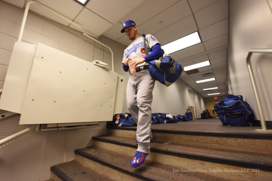 Yasmani Grandal--2015 NLDS-Game Three-Los Angeles Dodgers vs New York Mets Monday, October 12, 2015 at Citi Field in Flushing, New York.  Photo by Jon SooHoo /©Los Angeles Dodgers,LLC 2015