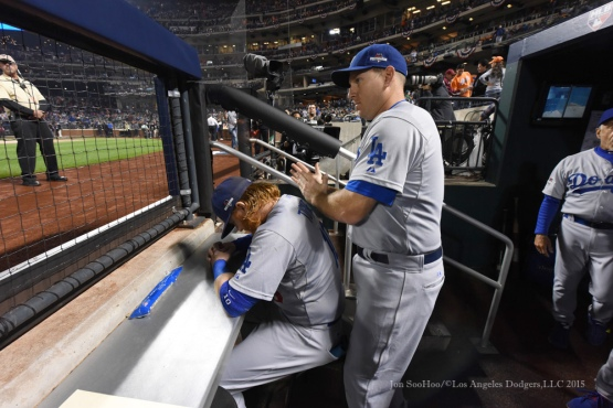 Justin Turner, AJ Ellis--2015 NLDS-Game Three-Los Angeles Dodgers vs New York Mets Monday, October 12, 2015 at Citi Field in Flushing, New York.  Photo by Jon SooHoo /©Los Angeles Dodgers,LLC 2015