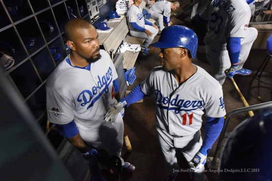 Howie Kendrick, Jimmy Rollins--2015 NLDS-Game Three-Los Angeles Dodgers vs New York Mets Monday, October 12, 2015 at Citi Field in Flushing, New York.  Photo by Jon SooHoo /©Los Angeles Dodgers,LLC 2015