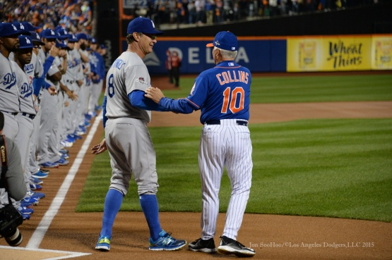 Don Mattingly and Terry Collins--2015 NLDS-Game Three-Los Angeles Dodgers vs New York Mets Monday, October 12, 2015 at Citi Field in Flushing, New York.  Photo by Jon SooHoo /©Los Angeles Dodgers,LLC 2015