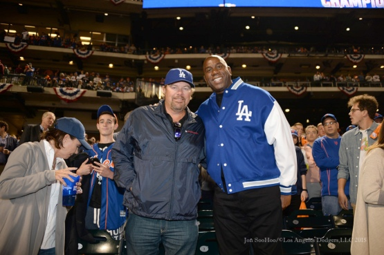 "Toby Keith and Earvin ""Magic"" Johnson--2015 NLDS-Game Three-Los Angeles Dodgers vs New York Mets Monday, October 12, 2015 at Citi Field in Flushing, New York.  Photo by Jon SooHoo /©Los Angeles Dodgers,LLC 2015"