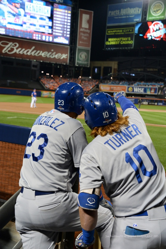 Adrian Gonzalez, Justin Turner--2015 NLDS-Game Three-Los Angeles Dodgers vs New York Mets Monday, October 12, 2015 at Citi Field in Flushing, New York.  Photo by Jon SooHoo /©Los Angeles Dodgers,LLC 2015