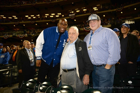 Earvin Johnson, Tommy Lasorda and Toby Keith--2015 NLDS-Game Three-Los Angeles Dodgers vs New York Mets Monday, October 12, 2015 at Citi Field in Flushing, New York.  Photo by Jon SooHoo /©Los Angeles Dodgers,LLC 2015